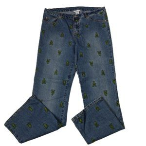 Lilly Pulitzer Green Lobster Embroidered Jeans